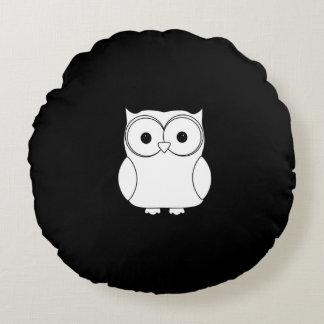 Travesseiro redondo da coruja preta & branca almofada redonda