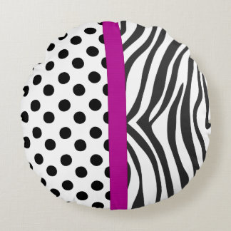 Travesseiro redondo do preto, o branco e o roxo almofada redonda