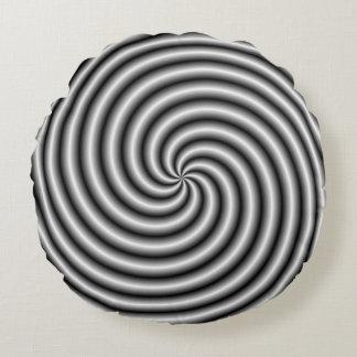 Travesseiro redondo o redemoinho em preto e branco almofada redonda