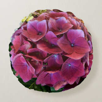 Travesseiro roxo do acento da flor do Hydrangea Almofada Redonda
