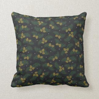 Travesseiro verde da bolota do pinheiro do inverno almofada