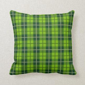 Travesseiro verde da xadrez almofada