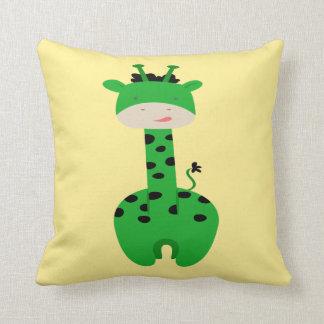 Travesseiro verde do girafa almofada