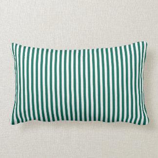 Travesseiro verde escuro das listras almofada lombar