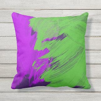 Travesseiro verde roxo da decoração do abstrato almofada para ambientes externos
