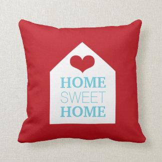 Travesseiro vermelho e azul HOME DOCE HOME