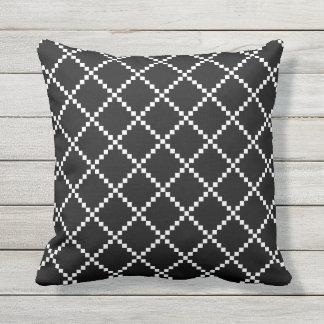 Travesseiros exteriores preto e branco almofada
