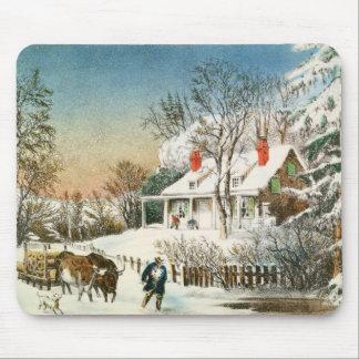 Trazendo em casa os registros, paisagem do inverno mouse pad