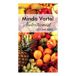 Treinador da comida do nutricionista da fruta cartão de visita