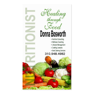 Treinador da comida do nutricionista dos produtos cartão de visita
