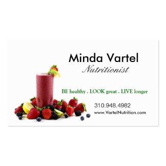 Treinador da comida do nutricionista, saúde, cartão de visita