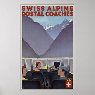 Treinadores postais alpinos suíços poster