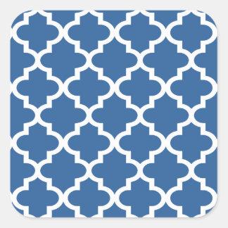 Treliça marroquina do azulejo dos azuis cobaltos adesivo quadrado