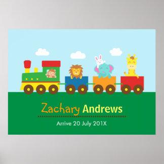 Trem animal bonito colorido, para o quarto dos miú poster
