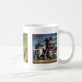 Trem de estrada de ferro canecas