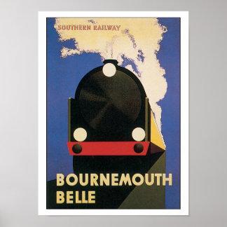 Trem do Belle de Bornemouth das viagens vintage Poster
