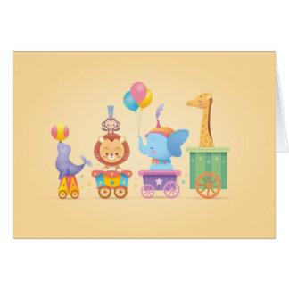 Trem do circo de Kawaii Cartão Comemorativo