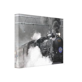 Trem preto impressão em tela