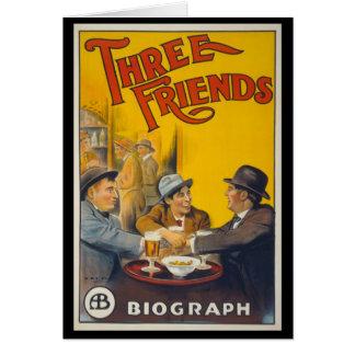 Três amigos cartão comemorativo