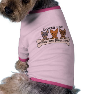 Três Pinschers diminutos Camisetas Para Cães