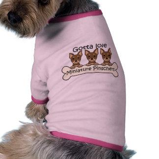 Três Pinschers diminutos Camisa Ringer Para Cachorro