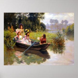Três senhoras e um homem em um barco posteres