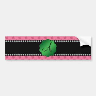 Trevos cor-de-rosa do monograma adesivo para carro