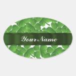 Trevos irlandeses verdes personalizados adesivos oval