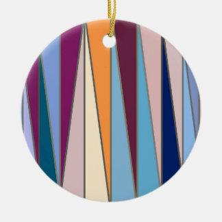 Triângulos, azul, roxo & ouro modernos do meio ornamento de cerâmica