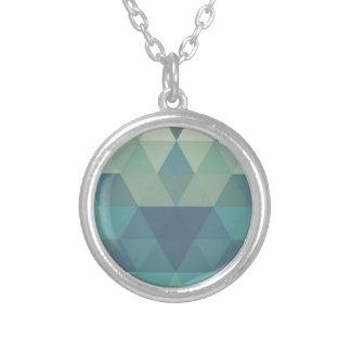 Triângulos geométricos colar com pendente redondo
