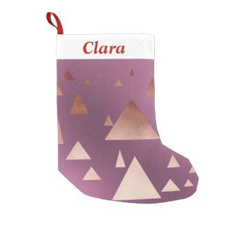 triângulos geométricos cor-de-rosa elegantes da bota de natal pequena