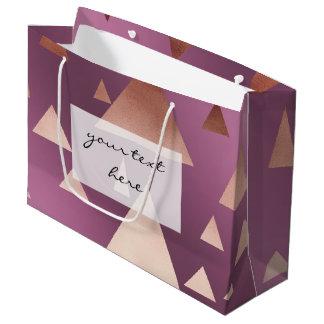 triângulos geométricos cor-de-rosa elegantes da sacola para presentes grande