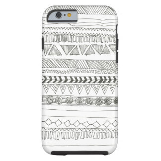 Tribal asteca preto e branco capa tough para iPhone 6