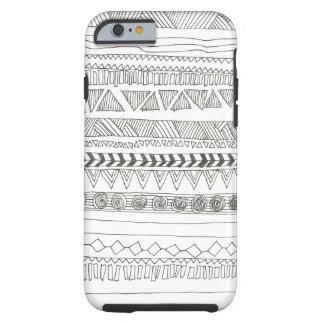 Tribal asteca preto e branco capa tough para iPhone 6
