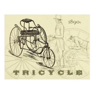 Triciclo adiantado dos 1890s cartão postal