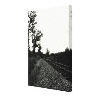 Trilha de estrada de ferro preto e branco impressão de canvas envolvidas