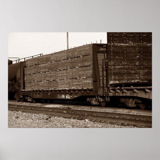 Trilhas carregadas do carro liso de trem de estrad posteres