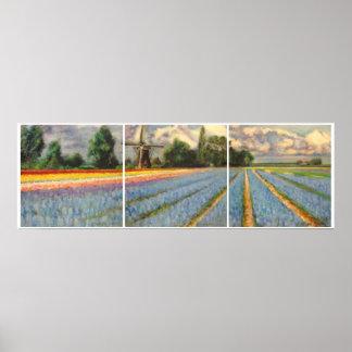 Triptych da pintura de paisagem dos campos de flor poster