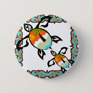 Tropical-impressão-tartaruga Bóton Redondo 5.08cm