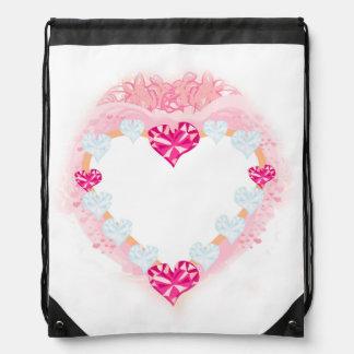 trouxa cor-de-rosa do cordão do coração dos mochila