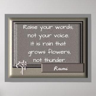 Trovão e chuva - citações de Rumi -- Impressão da