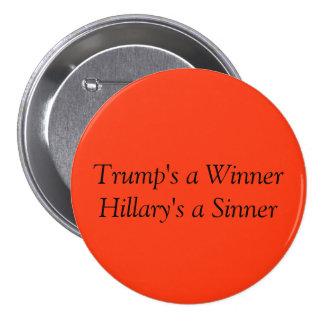 Trunfo/botão engraçados de Hillary Bóton Redondo 7.62cm