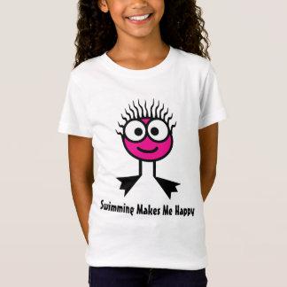 Tshirt A natação faz-me feliz - caráter cor-de-rosa da