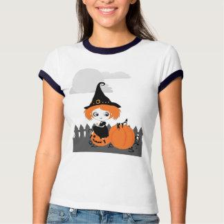 Tshirt alaranjado da mulher da abóbora da bruxa