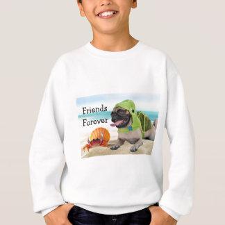 Tshirt Amigos para sempre: Caranguejo + Pug da tartaruga