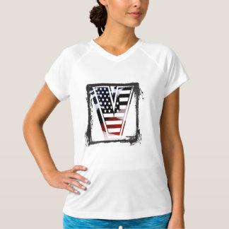 Tshirt Bandeira patriótica inicial dos EUA do monograma