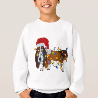 Tshirt Basset Tangled em luzes de Natal