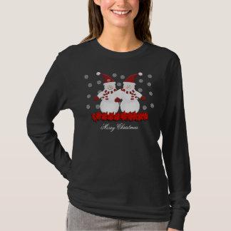 Tshirt bonito do Feliz Natal do boneco de neve