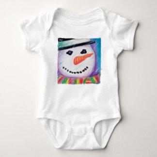 Tshirt bonito do Natal do bebê, boneco de neve
