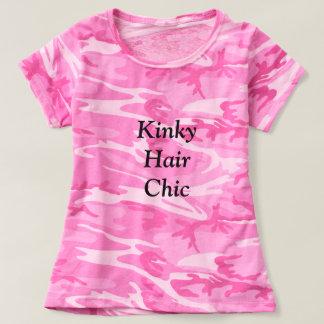 Tshirt chique do rosa do camo do cabelo Kinky